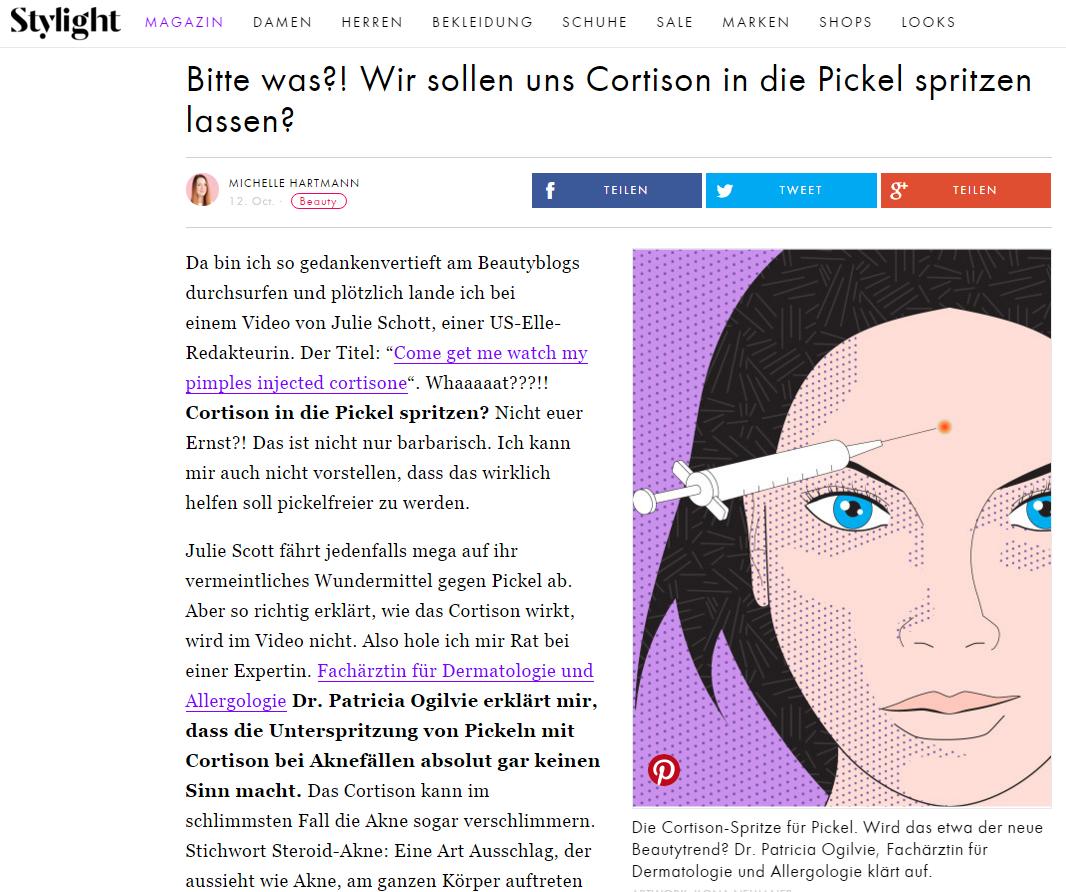 Artikel stylight.de – Cortison in Pickel spritzen? Dr. Patricia Ogilvie klärt auf